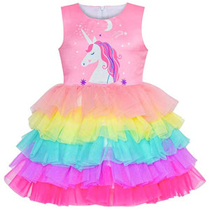 Girls Dress Unicorn Ruffle Rainbow | Pink | Fancy Dress