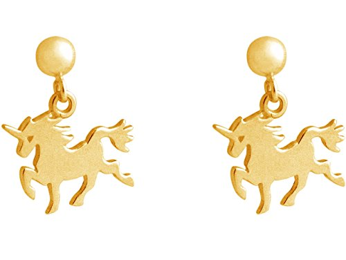 GEMSHINE Handmade Ladies earrings with dangling Unicorns. Solid sterling silver girls jewel. 925 Silver, 18k gold or 18k rose gold plated. Made in Madrid / Spain. Delivered in an elegant gift box.