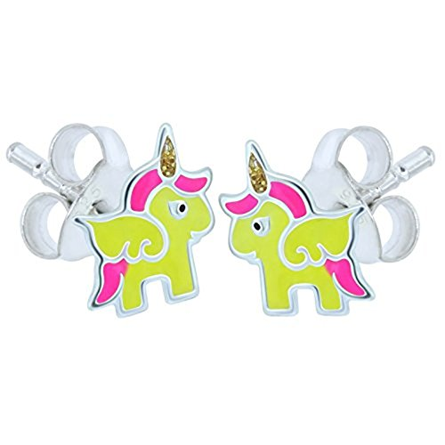 Yellow and Pink Unicorn Earrings - Sterling Silver