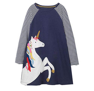 Long Sleeved Unicorn Dress For Girls | Navy | Various Sizes