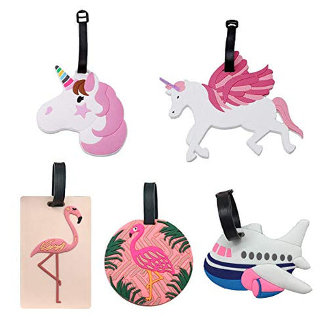 5 Pieces Unicorn Luggage Tags | Suitcase Tags | Multicoloured