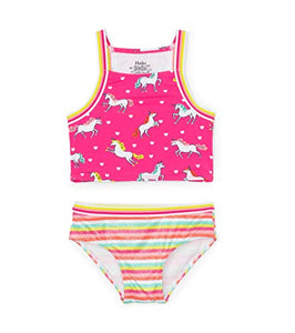 Hatley Girl's Sporty Tankini Sets, Pink (Prancing Unicorns 650)