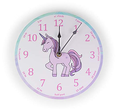 Unicorn Bedroom Wall Clock | Pink | Teach The Time Clock