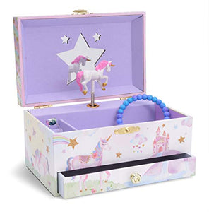 Pastel Coloured Unicorn Musical Jewellery Storage Box with Pull-out Drawer