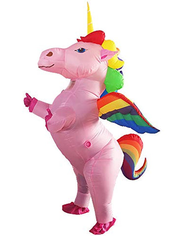 Pink Inflatable Rainbow Unicorn Costume with Horn | Fancy Dress
