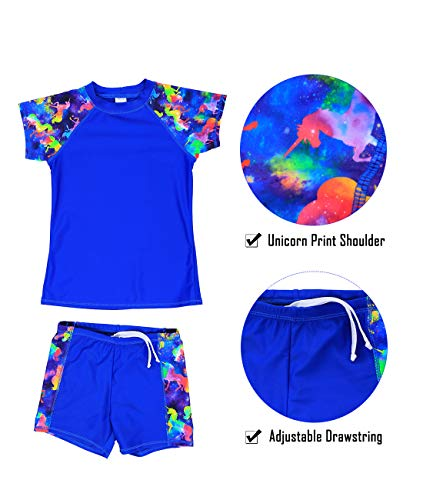 Girls Short Sleeve Two Piece Unicorn Swimsuit UV 50+ Sun Protective Rash Guard
