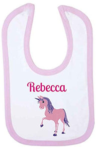 Personalised name baby big pink unicorn bib