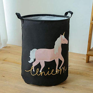 Unicorn Storage Basket, Black, Gold, Pink