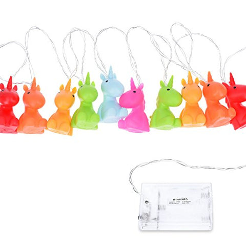 Navaris LED Unicorn Coloured Fairy Lights | 2m Length | Indoor String of Lights | Child's Bedroom