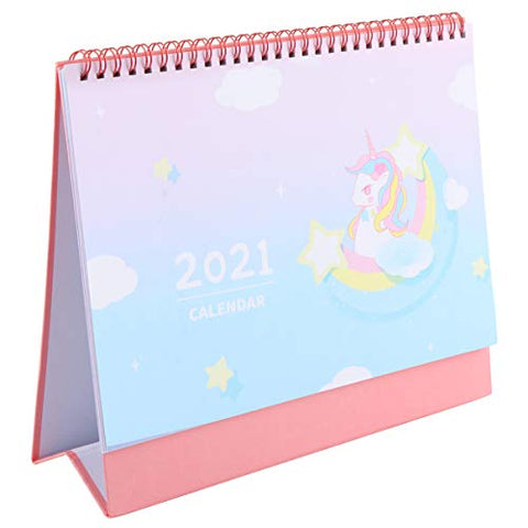 Unicorn Pattern Flip Calendar 2021 | Tabletop Daily Planner