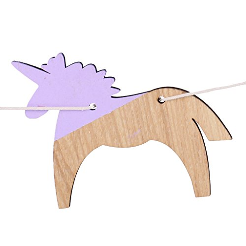Sharplace Vintage Style Wood Unicorn Shape Garland Banner Home Party Supplies