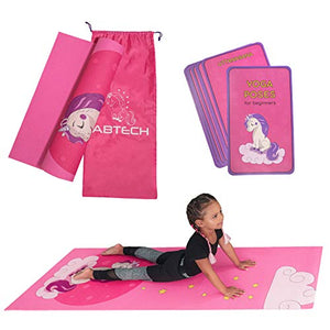 Kids Yoga Mat Set | Unicorn Yoga Mat For Girls | Carrier Bag With Strap | Pink | Ages 4-12