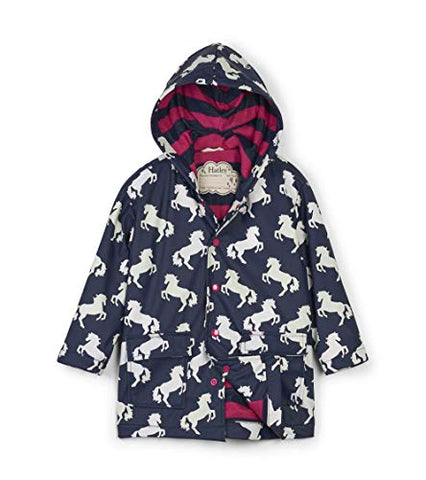 Hatley Girl's Printed Raincoats, Blue (Colour Changing Unicorns)