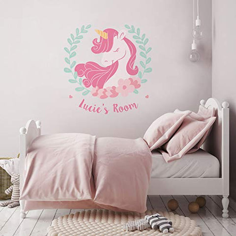 Personalised Unicorn Wreath Wall Sticker (Large size)