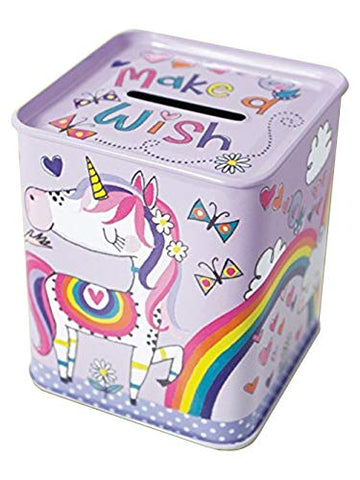 unicorn money box tin