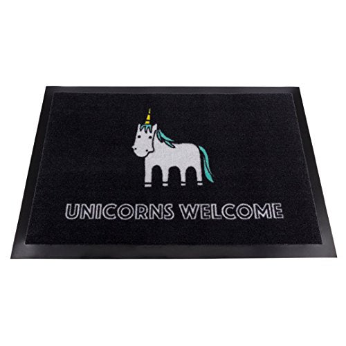 "Fun Black Unicorn Doormat ""Unicorns Welcome"""