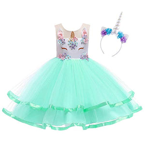 Girls Mint Green Unicorn Dress | Sleeveless Princess Rainbow Tutu Skirt | Fancy Dress
