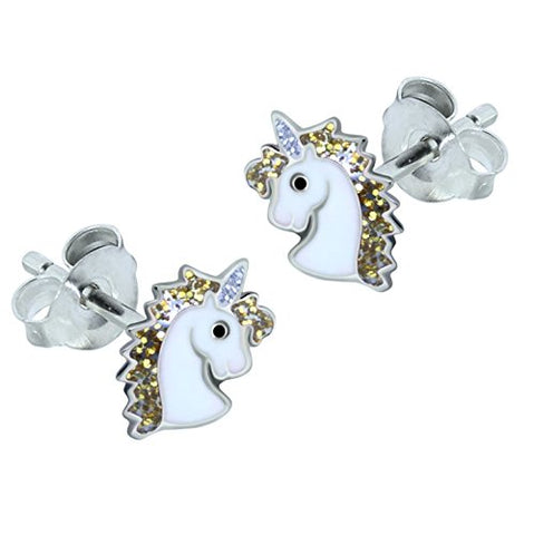 Sterling Silver Unicorn Earrings - Gold Glitter