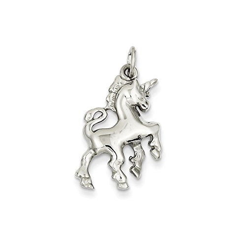 ICE CARATS 14k White Gold Unicorn Pendant Charm Necklace Animal Fine Jewelry Gift Set For Women Heart