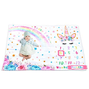 Unicorn Baby Milestone Blanket - 150 x 100cm Soft Fleece | Baby Shower Gift
