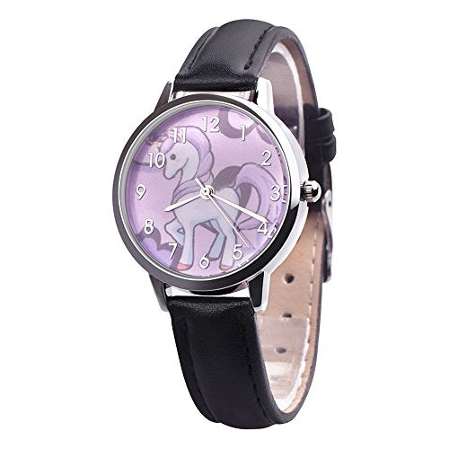Cute Simple Purple Unicorn Arabic Numerals Leather Strap Quartz Women Girl Children Wristwatch, Black