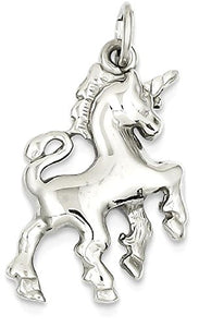 White Gold Unicorn Pendant Charm Necklace - 14 Carat