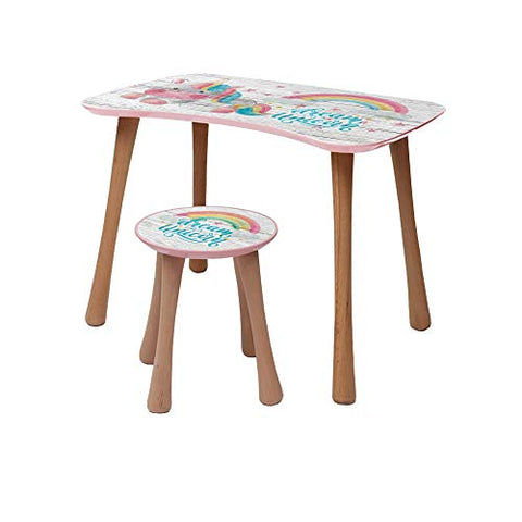 Dream Like A Unicorn Kids Table + Stool | Wooden Furniture