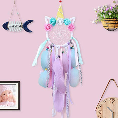 Unicorn Dream Catcher Handmade Dreamcatcher with Paper Gift Bag for Wall Hanging