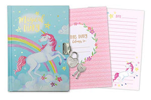 Girl's Unicorn Secret Diary with Heart Shaped Lock and Key, Private Journal