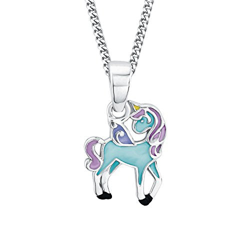 Princess Unicorn Childrens Necklace Tuqouise  925 Sterling Silve
