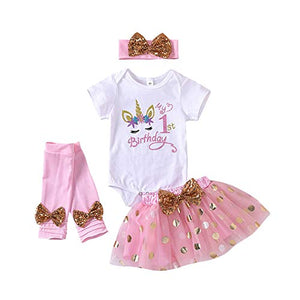 Cute Pink Unicorn Onesie Tutu 1st/ 2nd Birthday Outfit Dress | 4 Pieces