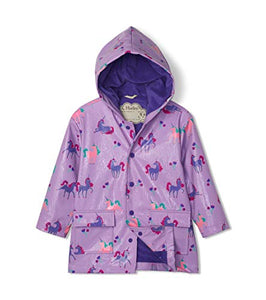 Hatley Girl's Printed Raincoat | Colour Changing Playful Unicorns | Lilac