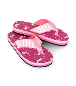 Hatley girls unicorn bright pink flip flops