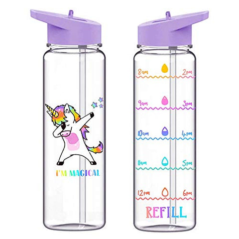Dabbing Unicorn | 720ml | Water Bottle With Straw | Leakproof BPA