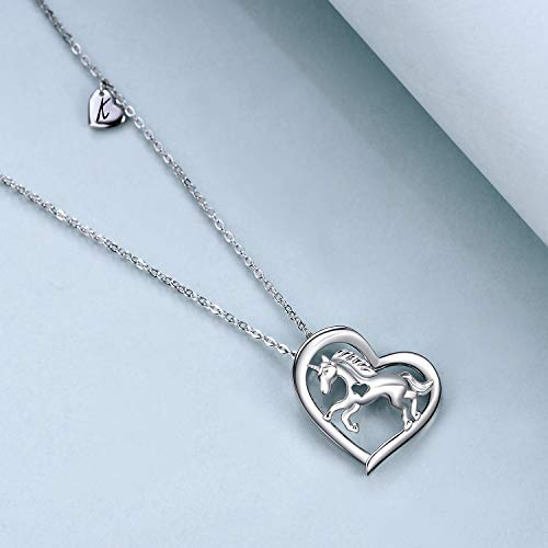 925 Sterling Silver Unicorn Heart Necklace