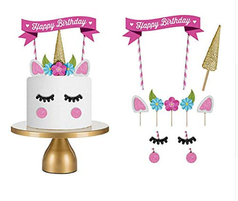 Unicorn Cake Topper Set with Happy Birthday Banner