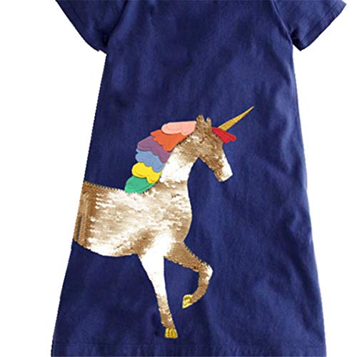 Girls Unicorn Short Sleeved Dress | Navy