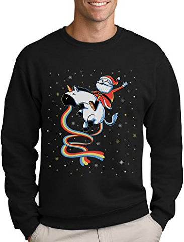 Santa Riding Vomiting Rainbow Unicorn Ugly Christmas Sweater | Black