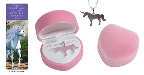 Girl's silver unicorn necklace in pink velour heart jewelry box gift set with unicorn quote bookmark