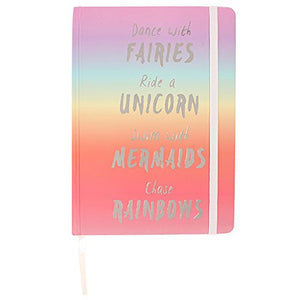 Dance With Fairies Swim With Mermaids Ride Unicorn Rainbow Hardback Journal A5 Notebook