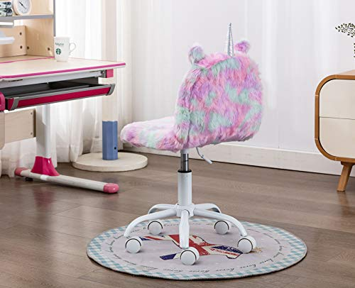 Kids Pastel Faux Fur Work Chair | Unicorn Design