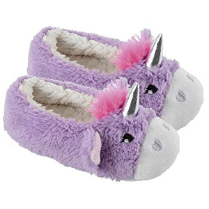 Ladies Unicorn Ballerina Ballet Slip On Slippers | Fleece Lined | Non Slip Sole