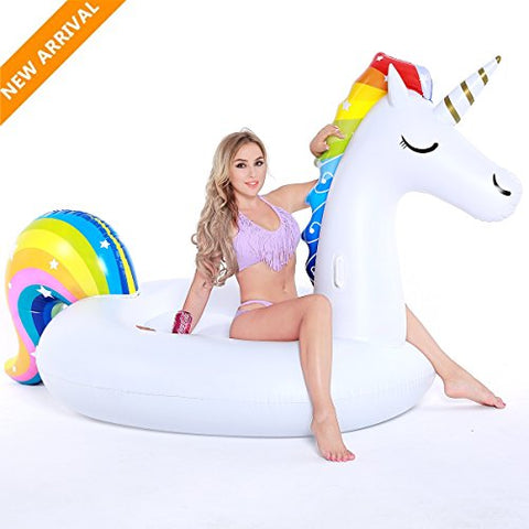 Pool Inflatable, Tongwing® Giant Unicorn Pool Float, XXL Unicorn Inflatable Raft, Outdoor Swimming Pool Party Toy, Beach Floats and Loungers for Adults & Kids, 108 x 55 x 48 inch
