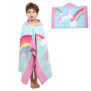 Hooded Poncho Bath Towel | Unicorn Design | Children's | Cotton
