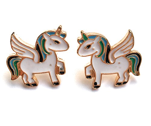 FizzyButton Gifts Gold tone enamel unicorn stud earrings in gift box