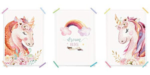 Set Of 3 Children's Unicorn Posters | Nursery Kids Bedroom Pictures | Wall Decoration