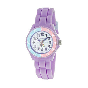 Tikkers Girls Unicorn Style - Analogue Classic Quartz Watch with Silicone Strap - Lilac
