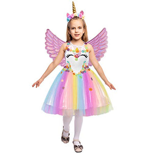 Unicorn Princess Fancy Dress Rainbow Skirt with Headband and Wings for Kids