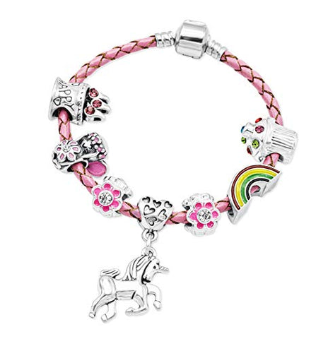 Girl's Pink Leather Unicorn Birthday Charm Bracelet with Gift Box