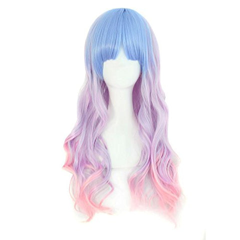 Beautiful Long Wavy Unicorn Harajuku Style Cosplay Wig (Light Blue/Light Purple/Pink)